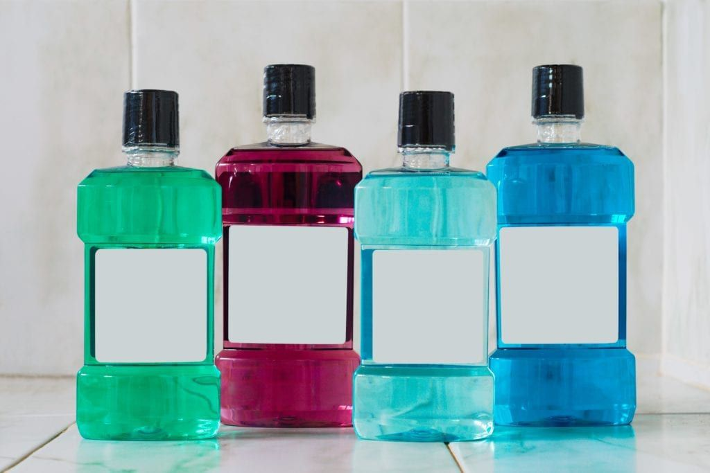 different colors of mouthwash